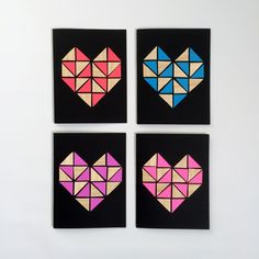 DIY: geometric heart cards