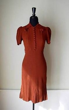 Vintage 1940 s 40 s WWII Swing Era Lindy Hop Rust Sienna Brown Grid Plaid  Dress   eBay 3c11e2d587b