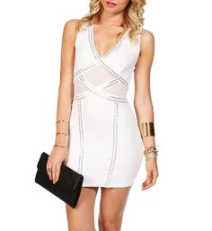 White Sleeveless Bodycon Dress Silver Dress, Bodycon Dress, Dresses For Work, Wedding Ideas, My Style, Clothes, Beautiful, Fashion, Outfit