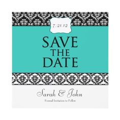 Damask Pattern Blue, Teal & Black Personalized Save The Date Announcements