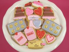 Baking Cookies~                           by adozeneggs, pink mixer, yellow rolling pin, cookie sheet, canister, pies, cakes