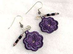 Embroidered Purple Flower with Peace Symbol by TexasTangledThreads, $40.00