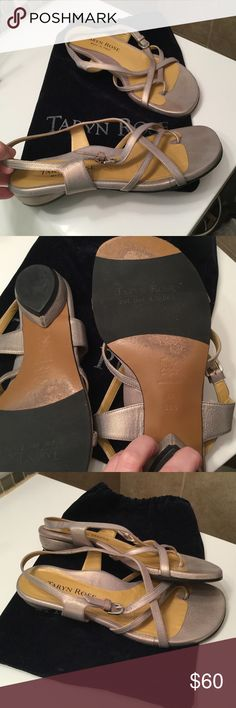 TARYN Rose Rose Gold Leather Sandals 8.5M Italy Beautiful rose gold Taryn Rose leather sandals. Made in Italy. Size 8.5M / UK 38 1/2. Great condition. See photos. There is one spot on the back of one heel, but doesn't detract.   Comes with shoe bag. Taryn Rose Shoes Sandals