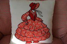 Vtg 1930 Quilt Block Red Southern Belle (Sunbonnet Sue) Appliqued Pillow 13 X13