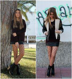 Get this look: http://lb.nu/look/8544175  More looks by Fashion Teen Church: http://lb.nu/fashionteen  Items in this look:  Mango Chaqueta, Green Coast Falda, Calzedonia Medias, Marypaz Botas   #mango #primark #marypaz #calzedonia