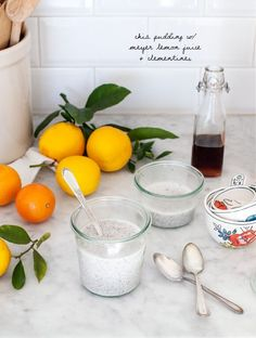 Sunshine Citrus Chia Bowls - sweet and creamy chia pudding with tangy meyer lemon. A healthy vegan & gluten free breakfast.