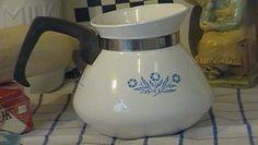 old coffee pots | Vintage Corning Ware White Coffee Pot Blue CornFlowers Kitchen ...