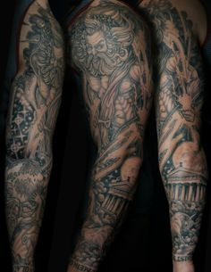 Greek gods themed sleeve by Champion Grubbs - Guru Tattoo - San Diego, CA.