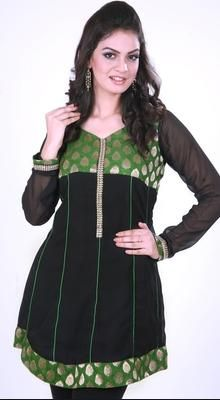 Exquisite Black And Green Kurti