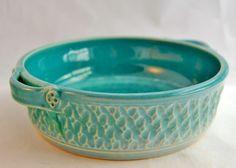 Robin's Egg Blue Brie Baker / Mini Casserole Dish / Hot Appetizer Bowl - Ceramic Stoneware Pottery