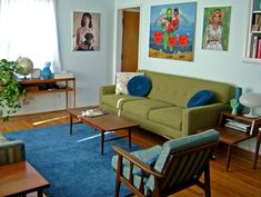 Beautiful mid century living room.  I love the blue and green together.