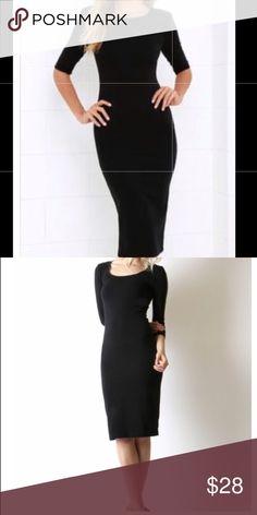 Midi Black Dress Midi black 3/4 sleeve, rayon jersey spandex. Super cute Dresses Midi