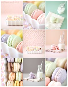 ~Marie Antoinette ~ Let Us Eat Cake party inspiration board by Bella Bella Studios ~ I love these gorgeous macaroons found via the Home Styling blog.