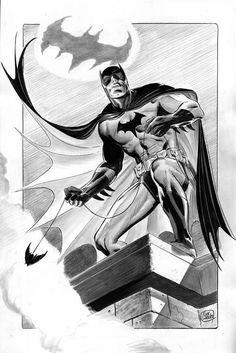 Batman by Lee Weeks * Batman Comic Books, Marvel Dc Comics, Comic Book Artists, Comic Artist, Batman Drawing, Batman Artwork, Batman Wallpaper, Batman Universe, Dc Universe
