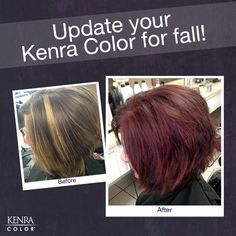 Do your clients want darker locks this fall? Use Kenra Color® Pre-Pigments to ensure longevity of corrective color and on-tone color fading!    In this image: Filled with Kenra Color Red Pre-Pigment mixed 1:1 with water, processed at room temperature for 10 minutes. Excess Pre-Pigment towel-blotted off. Kenra Color Permanent was applied and processed 30 minutes. 5R(1/2) + 5RC(1/2) + 10 Volume