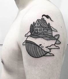 House and Whale Tattoo by Whale Tattoos, Cute Tattoos, Beautiful Tattoos, Body Art Tattoos, Girl Tattoos, Sleeve Tattoos, Tatoos, Rat Tattoo, Sick Tattoo