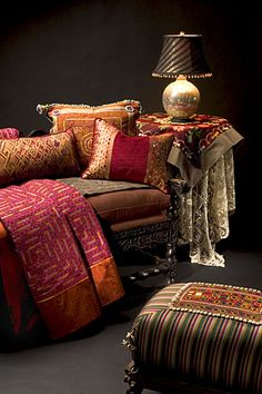 .One of the ways to distinguish your decor is through the use of colors and upholstery and various other textiles, not just on furniture but walls too. Way down below there are examples of wall-coverings in suedes and silks  that make a room stand-out.