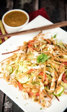 Chicken and Cabbage Salad With Almond Butter Dressing. A super-fast, super-crunchy salad with a subtle Asian inspiration, perfect for home or the lunchbox. (Paleo, Gluten-Free)