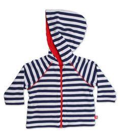 Navy & White Stripe Baby Reversible Hoodie