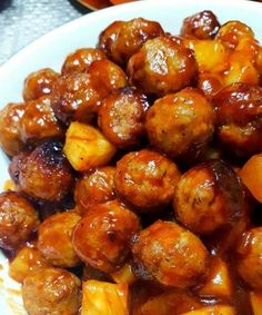 Appetizer. Slow Cooker Pineapple BBQ Meatballs l easy recipes l easy dinner recipes l meal plan l budget plan l dinner recipes