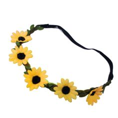 Boho Daisy Hair Bands for Women Hair Decor Headbands Festival Elastic Sun Flower Yellow -- Continue to the product at the image link.