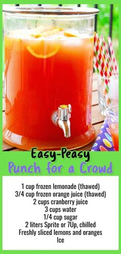 11 Easy Punch Recipes For a Crowd Simple Party Drinks Ideas (both NonAlcoholic Punch Recipe For A Crowd, Holiday Punch Recipe, Easy Punch Recipes, Food For A Crowd, Punch Recipe With Sprite, Wedding Punch Recipes, Best Punch Recipe, Brunch Ideas For A Crowd, Cosmo Recipe