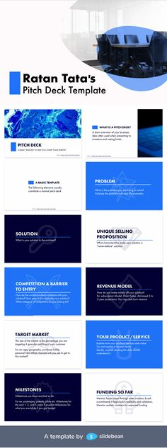 This deck is comprised of 16 slides where Ratan Tata shares basic definitions, the pitch structure he recommends, and useful tips. As a startup ourselves, we recognize the high value of this giveaway, coming from an investor with the experience of Mr. Tata! Since we are such big fans, we wanted to share the giving spirit by adding a little bit of the Slidebean magic to Ratan Tata's deck, which you can download for free.