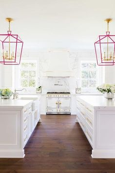 All white with a touch of pink!