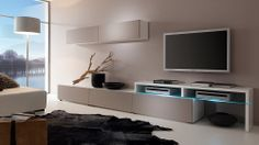 Low walnut tv unit with 2 white wall cabinets and display for Wohnwand 50 euro