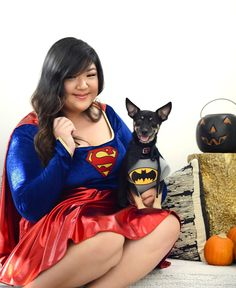 Davey's smile says it all! Having a Batdog vs. Supergirl moment in these costumes from JCPenney and I'm totally loving it--just waiting on the a.n.a. red pumps I also ordered from JCPenney to arrive and my costume will be complete! #ad #SoWorthIt