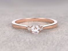 3 stones Morganite Engagement ring Rose goldDiamond by popRing