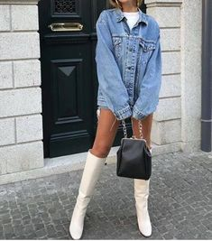 Women's Denim Jackets : 𝓹𝓲𝓷𝓽𝓮𝓻𝓮𝓼𝓽 Fashion Killa, Look Fashion, Winter Fashion, Fashion Outfits, Womens Fashion, Cute Casual Outfits, Fall Outfits, Looks Style, Mode Style