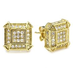 18k Yellow Gold Plated CZ Cubic Zirconia Cube Shaped Hip Hop Iced Cube Stud Earrings