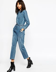 Image 1 of ASOS Denim Boilersuit with Zip Detail in Seafoam Blue