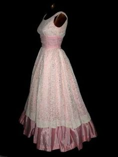 50s pink with white lace overlay formal dress