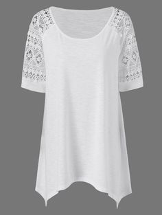 Plus Size Raglan Sleeve Crochet Trim T-Shirt