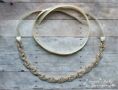 Aurora Gold Tone Rhinestone Tie-back Headband, Prom Headband, Wedding Headband