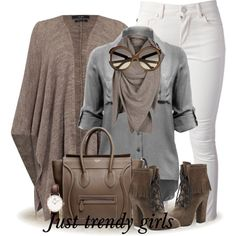 White pants, grey button up shirt, brown cardigan, brown scarf, brown shoes, watch