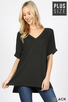 2744f50efa4 Rolled Sleeve Perfect Tee in Black {Curvy} Rolled Sleeve Perfect Tee in  Black {