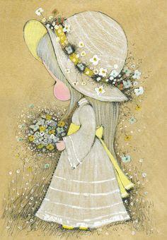 Daisy Lane posters in Frankie! Vintage Girls, Vintage Children, Vintage Art, Vintage Pictures, Cute Pictures, Vintage Illustration, Daisy, Holly Hobbie, Vintage Postcards