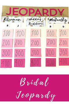 MelissaS Bridal Shower Jeopardy Game Jeopardy Template  Moh