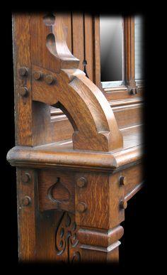 Arts & Crafts antique oak fireplace