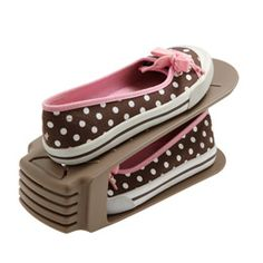 Shoe Space Saver at The Container Store - holds one pair of shoes in the amount of space in just one. For extremely small closets or dorm rooms. Fashion Room, Fashion Shoes, Shoe Storage Solutions, Storage Ideas, Dorm Closet, Shoe Holders, Keep Shoes, Small Closets, Storage Places