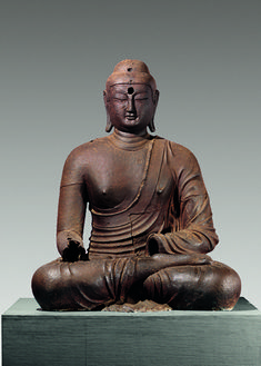 Buddha. Korea, Silla kingdom, late 8th–9th century. Said to be from Bowonsa Temple site, Seosan, South Chungcheong province. Cast iron; H. 59 1/8 in. (150 cm)