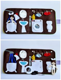 Adorable bathroom and laundry for quiet book
