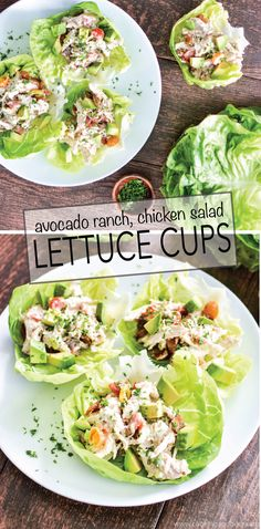 Recipe for Avocado Ranch Chicken Salad Lettuce Cups is a healthy and delicious way to spice up your next lunch! Cooking Time: The amount of time you will need to cook the chicken and bacon, which is not provided in the instructions below. Avocado Recipes, Lunch Recipes, Cooking Recipes, Cooking Time, Lettuce Recipes, Juicer Recipes, Ranch Chicken Salad Recipe, Chicken Recipes, Avocado Chicken