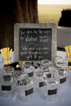 Mason Jar Mugs With Chalkboard Stickers Great For Weddings And Parties Available Purchase On Royalmasonjars Etsy