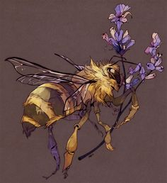 "godzillabreath: "" honeybee and lavender in late afternoon purple finished commission for Mason! """