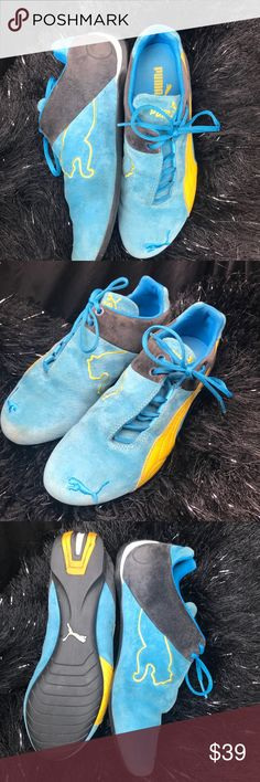 Puma Blue Suede side lace up kicks! Super fun and snazzy Blue puma suede shoes! Light wear! So cute and fun! Puma Shoes Athletic Shoes