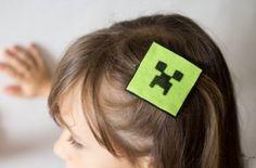 Cómo hacer un clip del pelo #Minecraft de #Fieltro fácil.